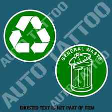 RECYCLE & GENERAL WASTE DECAL STICKER COMMERCIAL GARBAGE BIN OH&S SAFETY DECALS