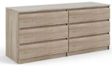 Beige 6 Drawer Dresser Wood Grain Bedroom Furniture Truffle Double Dressers NEW