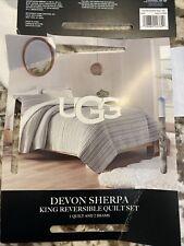 Ugg® Reversible 2 Piece King Size Comforter Set in Blue Or Stripes Devon Sherpa