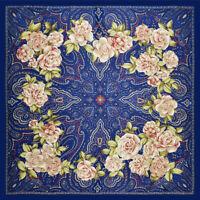 """Women Fashion Blue Square Scarf Rose Flower Print Head Shawl Hijab Wraps 39""""*39"""""""