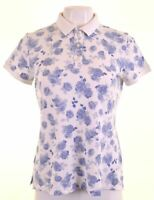 BENETTON Womens Polo Shirt Size 12 Medium White Floral Cotton  NA04