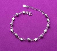 Women's 925 Sterling Silver Stars Ball Charm Beaded Chain Foot Bracelet Anklet