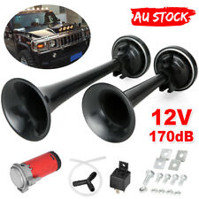 Dual Trumpet Air Horn Horns Super-loud For Truck RV Car Train black AU 12V 178DB
