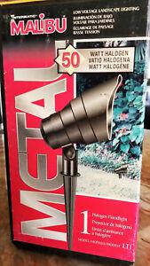 50w MALIBU Architectural Black Metal / Glass Lens Halogen Flood Spot Low Voltage
