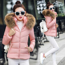 Winter Women's Down Cotton Parka Fur Collar Hooded Coat Ladies Quilted Jacket