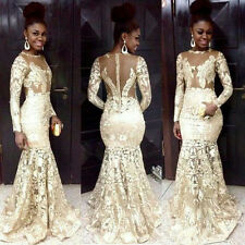 2018 Mermaid Lace African Evening Party Wedding Gowns Long Sleeve Prom Dresses