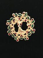 Vintage Unsigned Christmas Brooch Pin Wreath Deer Gold Tone Red Green Enamel