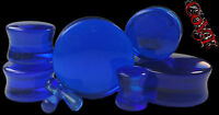 """Pair 8g-1"""" Sapphire Glass Plugs Organic Tunnels Stone Double Flare Ear Gauges"""