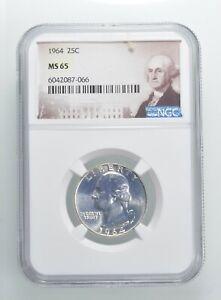 1964 MS65 Washington Quarter Silver NGC Graded - Choice Unc *373