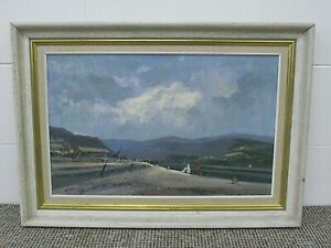 VINTAGE OIL PAINTING ON BOARD - ABERDOVEY BEACH BY JOHN NEALE