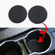 2x Black Water Cup Slot Non-Slip Carbon Fiber Look Mat Truck Car Accessories New