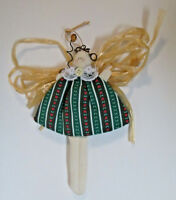 Handmade Quilted Angel Straw Wings Christmas Tree Ornament  Primitive Country