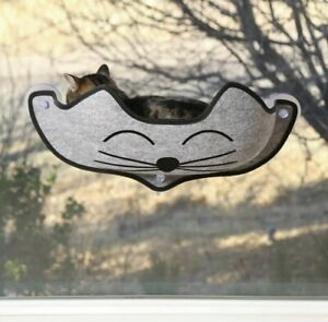 """K&H Pet Products EZ Mount Kittyface Cat Window Bed Gray 27"""" x 8"""" x 11"""""""