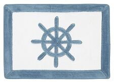 Sculpted Memory Foam Ship's Wheel Bath Mat Beach Sea Bathroom Decor 17x24 Blue
