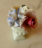 Crown Royal Bone China Blue Carnation Pink Rose Yellow Poppy Flower Posy England