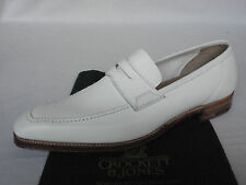 Crockett & Jones SALCOMBE White Grain Calf Leather Penny Loafer Shoes UK 7 RARE
