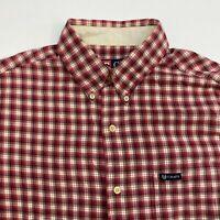 Chaps Button Up Shirt Men's Medium Short Sleeve Mult Plaid Casual 100% Cotton