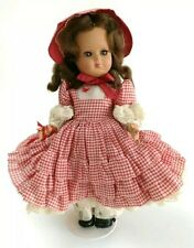Vintage Italian Hard Plastic Doll All Original Gingham Outfit Tagged Italy Red