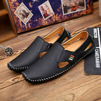 Men's Driving Moccasins Real Leather Loafers Shoes Lazy Slip On sheos Hollow Out