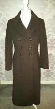 Precis Ladies Long Brown Wool & Cashmere Full Length Coat - UK Size 10.