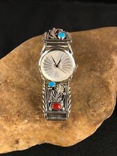 Mens Native American Sterling Silver Watch tips Turquoise Coral 8805