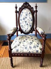 Antique Hunzinger Throne Arm Chair  Mahogany~