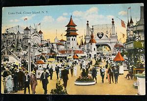 1920s CONEY ISLAND NY Postcard  LUNA PARK Amusement Rides crowds/fashion/10c tkt