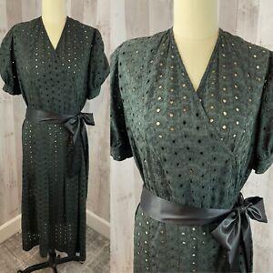 1910-1920s Antique Edwardian Tondeuse Robe / Robe Pur Coton Noir M