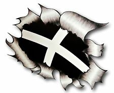 LARGE Ripped Torn Metal Look Design & Cornwall Cornish Kernow Flag car sticker