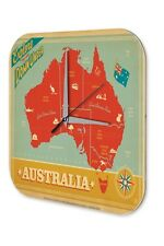Wall Clock Globetrotter  Australia map nostalgic Printed Acryl Acrylglass