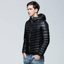 Packable Hoodie Style Down Jacket Men Winter Ultralight Outerwear Coat 2XL Black