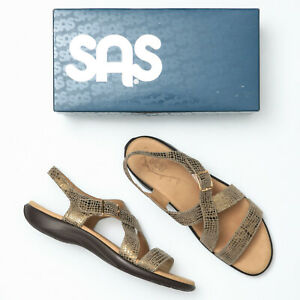 SAS Laguna Olive Gold Nubuck Leather Comfort Sandals - Women's 12 S