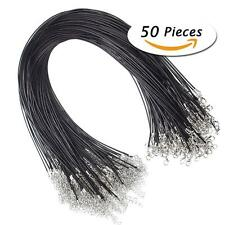 "50Pcs 18"" Black Leather Braided Wax Cord Necklace for DIY Jewelry Making DR"