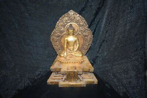 Buddha auf Thron, Tibet, 3teilig, (Amitabha) Bronze feuervergoldet, 40cm