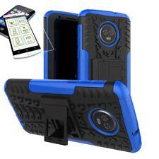 pour Motorola Moto G6 Plus HYBRID ETUI extérieur 2 pièces bleu Coque + H9