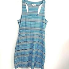 Tehama Size Small Racerback Tank Athletic Stretchy Stripes Dress Blue Teal White