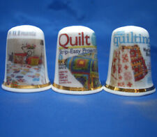 Birchcroft China Thimbles -- Set of Three -- Quilting Magazines