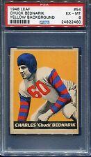 1948 LEAF FOOTBALL #54 CHUCK BEDNARIK YELLOW BACKGROUND RC PSA 6 EX-MT HOF TOUGH