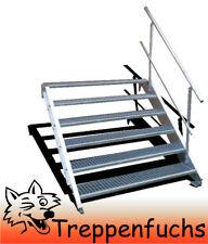 6 Stufen Stahltreppe mit einseitig. Geländer Breite 130 cm  Geschosshöhe 90-120c