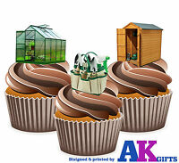 PRECUT Green House Shed Allotment Birthday 12 Edible Cupcake Toppers Decorations