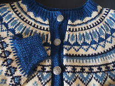 Vtg NORWAY Since 1822 Hand Knitted Blue Turquoise Pewter Sweater Open Jacket M L