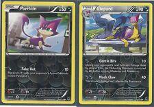 LIEPARD & PURLOIN - 2 EVOLUTION XY Phantom Forces Pokemon Card REV HOLO MINT