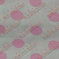 Polka Dot Poly Cotton 1 inch Fabric 58 inches width sold by yard White / Pink