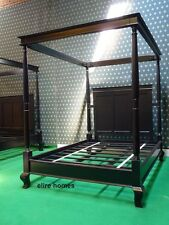 BESPOKE King Size 5' Gothic Black four poster canopy bed made from mahogany wood