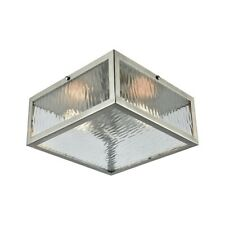 ELK Lighting Placid 2-Light Flush Mount, Nickel/Clear Ripple Glass - 31786-2