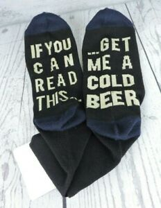 Men's Socks If You Can Read This Get Me Another Beer 9-11 Novelty Gift New