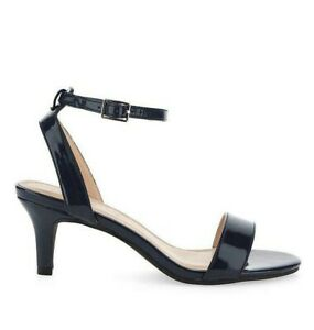 Womens Kitten Heels Wide Fit Size 5 Navy Blue Mid Heel Slingback Shoes Open Toe