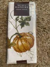 Cedar Grove Harvest Autumn Pumpkin Cloth Napkins Set of 4 - NEW