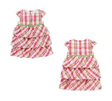 NWT Gymboree Girls BRIGHT TULIPS Pink Green Plaid Tiered Ruffled Dress 18-24 M