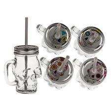 4 er Set Totenkopf Trinkglas mit Henkel Deckel Trinkhalm Mason Jar Tag der Toten